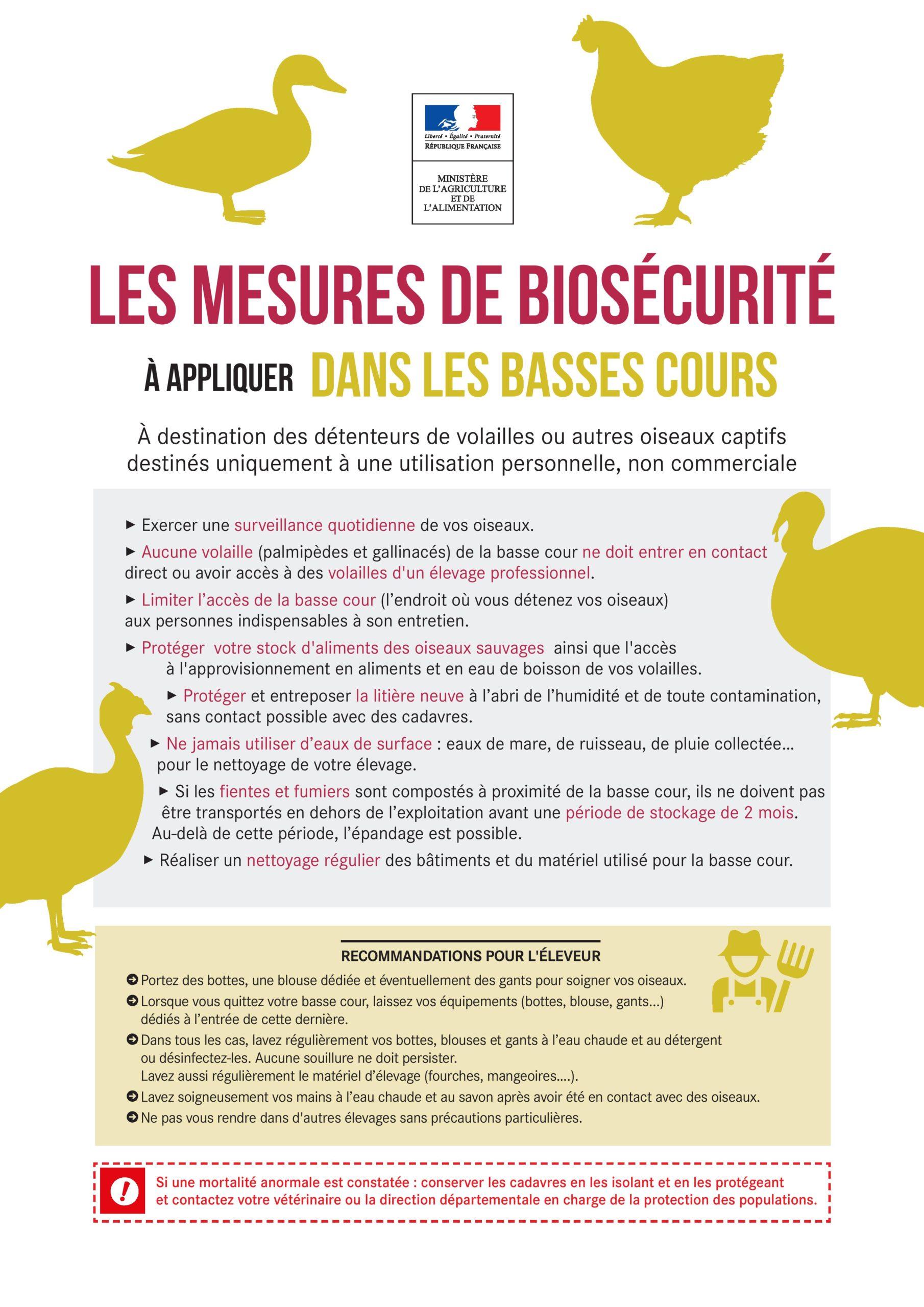 Grippe aviaire: mesures de biosécurité et surveillance accrue